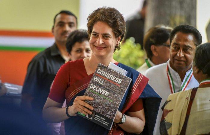 Congress General Secretary and Uttar Pradesh - East incharge Priyanka Gandhi Vadra during the release of party's manifesto for Lok Sabha polls 2019, in New Delhi on Tuesday. (PTI Photo)