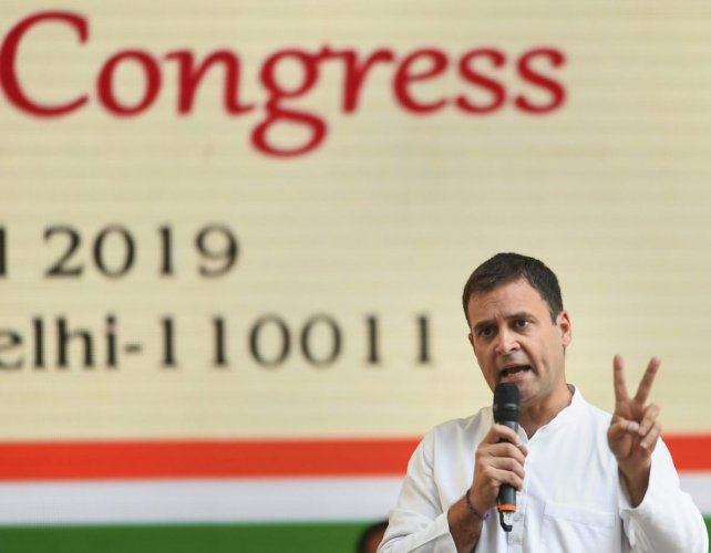 Congress President Rahul Gandhi addresses after the release of party's manifesto for upcoming Lok Sabha polls 2019, in New Delhi on Tuesday. (PTI Photo)
