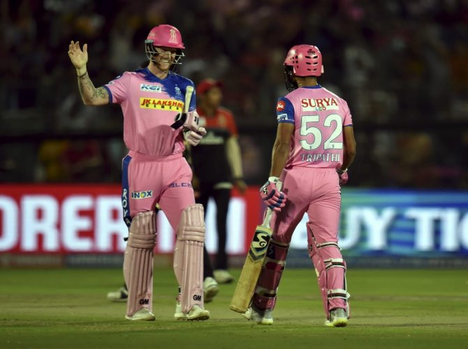 Rajasthan Royals (RR) players Ben Stokes and Rahul Tripathi celebrate victory against Royal Challengers Bangalore (RCB) during the Indian Premier League (IPL T20 2019) cricket match at Sawai Man Singh stadium in Jaipur. PTI photo