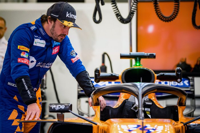 Former McLaren driver Fernando Alonso during the testing session in Bahrain. Picture credit: AFP