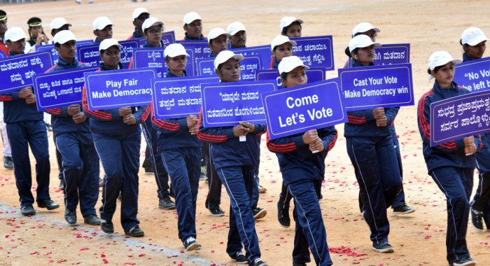 Students creating awareness on the importance of voting. DH file photo