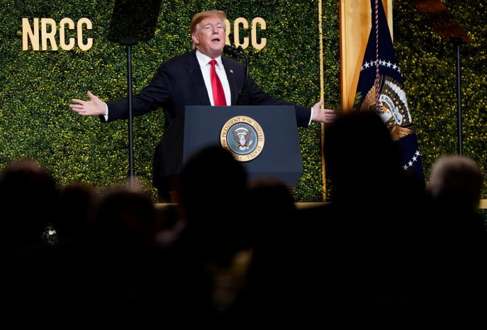 US President Donald Trump speaks at the National Republican Congressional Committee Annual Spring Dinner in Washington (REUTERS)