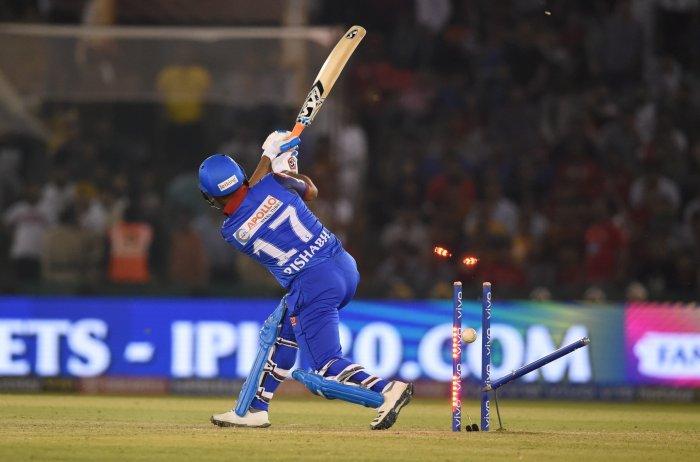Delhi Capitals' Rishabh Pant bowled in the match against Kings XI Punjab at I.S Bindra Stadium in Mohali on April 1, 2019. (PTI Photo/Atul Yadav)