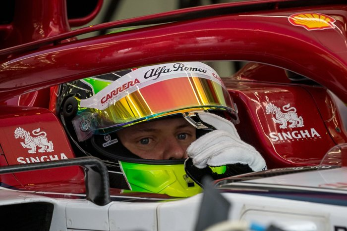 Mick Schumacher in the Alfa Romeo Racing car. Picture credit: AFP