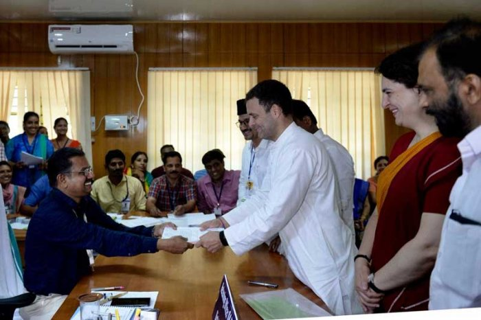 Gandhi, accompanied by his sister Priyanka Gandhi and senior Congress leaders including K C Venugopal and Mukul Wasnik, submitted the papers before the district Collector A R Ajayakumar at the district headquarters.