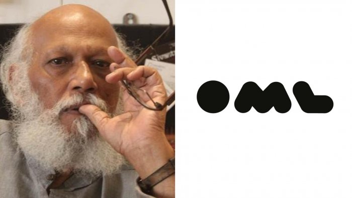 Famous painter Jatin Das (Left) and company logo of Only Much Louder (Right).