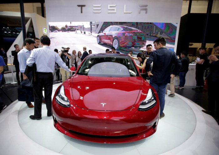A Tesla Model 3 car is displayed during a media preview at the Auto China 2018 motor show in Beijing. (Reuters File Photo)