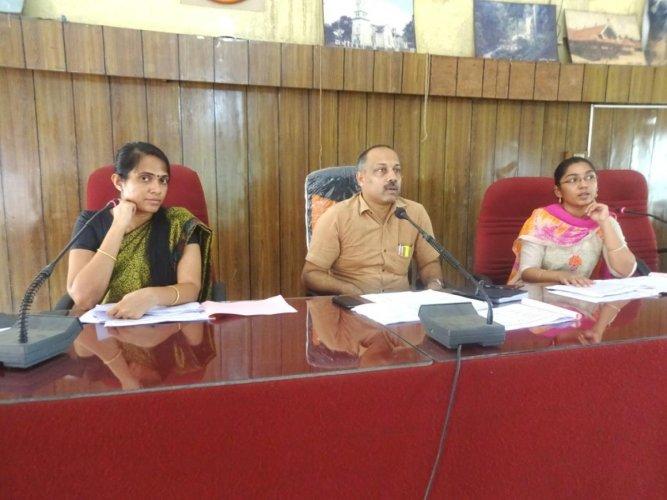 Mysuru Regional Commissioner T K Anil Kumar speaks at a meeting in Madikeri on Wednesday.