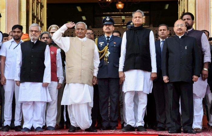 Rajasthan Governor Kalyan Singh, state Assembly Speaker C.P. Joshi and Chief Minister Ashok Gehlot in Jaipur on January 17, 2019. PTI