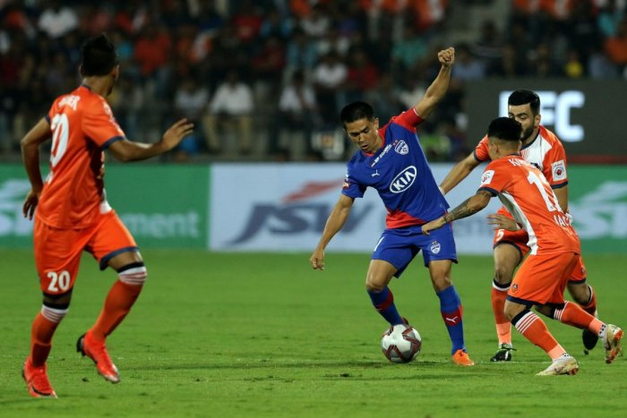 Sunil Chhetri (centre) missed a penalty which proved costly in the end for Bengaluru FC in their Super Cup game against Chennai City. File Photo