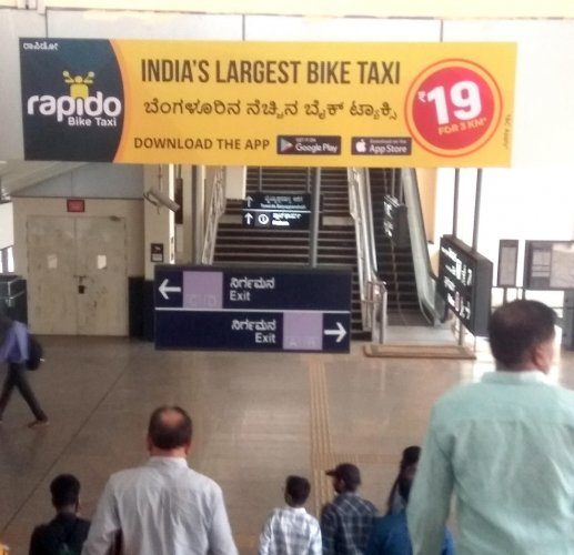While the government has consistently maintained a ban on bike taxis, it has not prevented Rapido from displaying advertisements in prime places like metro stations. Picture from MG Road metro station.