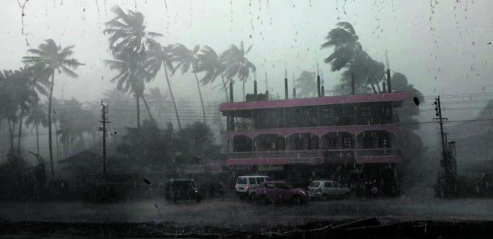 Heavy rain coupled with hailstorm lashed Subrahmanya in Dakshina Kannada district on Friday.