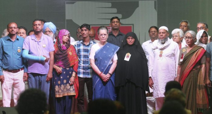 UPA Chairperson Sonia Gandhi at 'Peoples' Agenda- Jan Sarokar 2019' at Talkatora Stadium in New Delhi, Saturday, April 6, 2019. (PTI Photo)