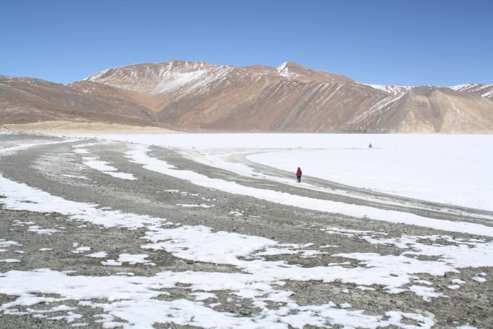 The frozen lake in the Changthang region of Ladakh. PHOTOS BY AUTHOR