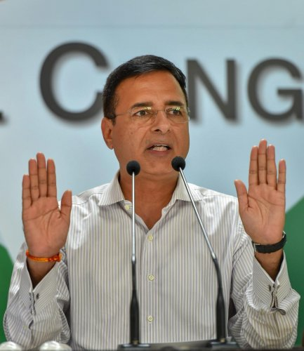 """Congress chief spokesperson Randeep Surjewala told reporters that there is """"no conversation on alliance"""" with AAP in Haryana or Punjab. PTI File photo"""