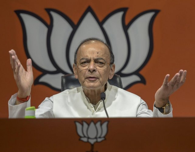 nion minister and BJP leader Arun Jaitley during the launch of the party's election theme songs and other campaign materials for upcoming Lok Sabha polls, at party headquarters in New Delhi, Sunday, April 7, 2019. (PTI Photo)