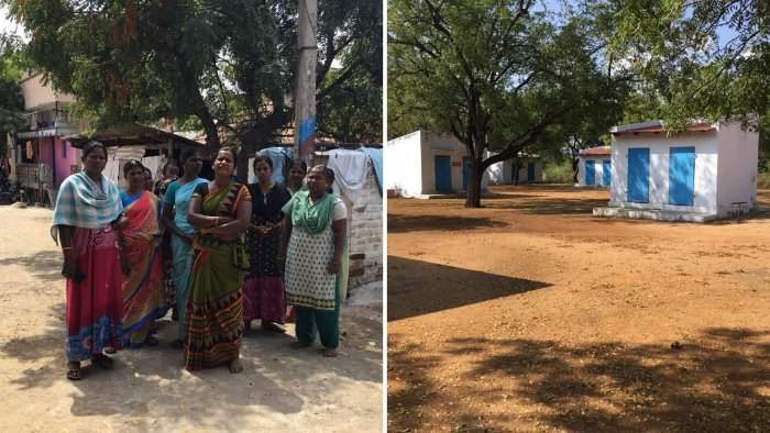 (L) Women labourers who have lost jobs due to shut down at their colony in Sivakasi on Monday. (R) Units where labourers' produce crackers closed due to shutdown.