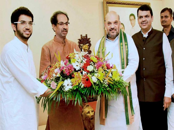 The Sena, it may be recalled had targetted Modi and BJP president Amit Shah and the policies of the NDA government, before entering into a seat-sharing agreement. (DH File Photo)