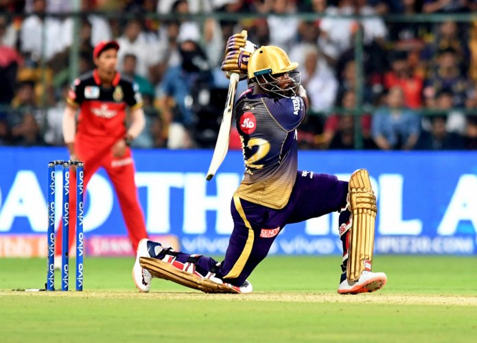 DANGER MAN: Kolkata Knight Rider's Andre Russell, who has been in marauding form this season, will be CSK' biggest threat on Tuesday. DH FILE PHOTO