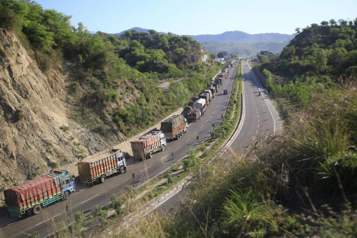 Stranded trucks on Jammu-Srinagar highway on the outskirts of Jammu on Sunday, April 7, 2019. The government has banned civilian movement on the strategic Srinagar-Jammu highway on two days in a week (Sunday and Wednesday) for smooth and safe passage of s