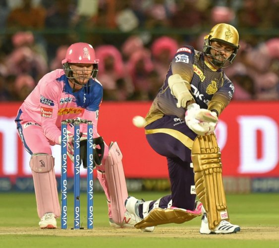 FETCH THAT! KKR's Sunil Narine sweeps one to the boundary against Rajasthan Royals on Sunday. PTI