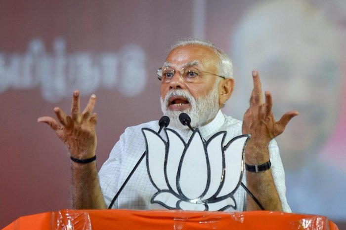 Prime Minister Narendra Modi during an election rally, ahead of the Lok Sabha polls, in Coimbatore, Tuesday April 09, 2019. (PTI Photo)
