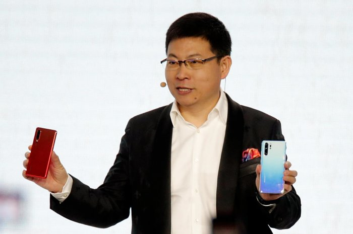 Richard Yu, CEO of the Huawei Consumer Business Group, unveils the new Huawei P30 and P30 Pro smartphones. Reuters file photo