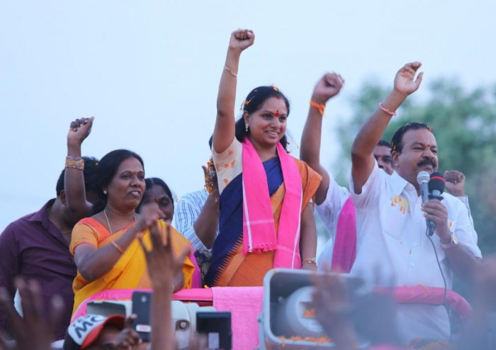 K Kavitha in the election campaign. (DH photo)