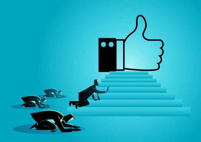 """Concept vector illustration of people worshiping thumb up icon. Social media concept, people obsessed with """"like"""" icon, getting more Likes is a critical part of your social media marketing strategy.Social Media Like Icon Illustration"""