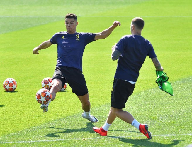 WILL HE OR WON'T HE? Juventus' Cristiano Ronaldo during a training ahead of the clash against Ajax. Reuters