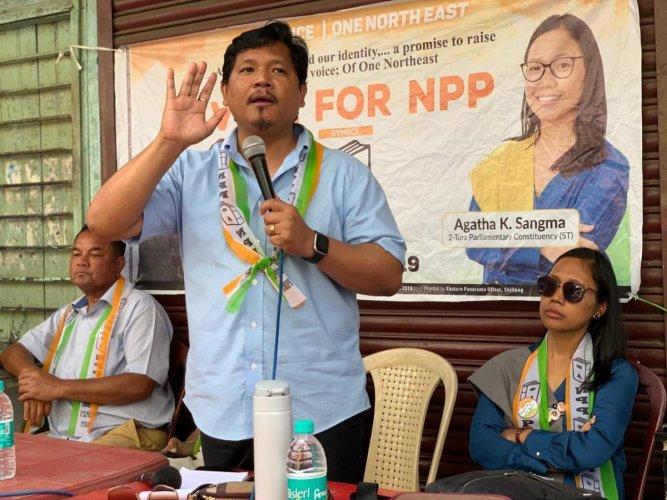 NPP chief and Meghalaya chief minister Conrad K Sangma, during a campaign rally in Tura Lok Sabha constituency, where his sister Agatha Sangma is contesting. S. Khan