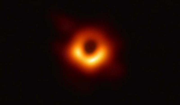 The supermassive black hole now immortalised by a far-flung network of radio telescopes is 50 million lightyears away in a galaxy known as M87.(@ehtelescope/Twitter)
