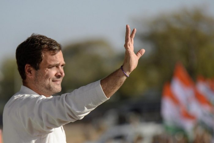 Rahul Gandhi reached the Collectorate to file his papers after a roadshow through the town. PTI File photo