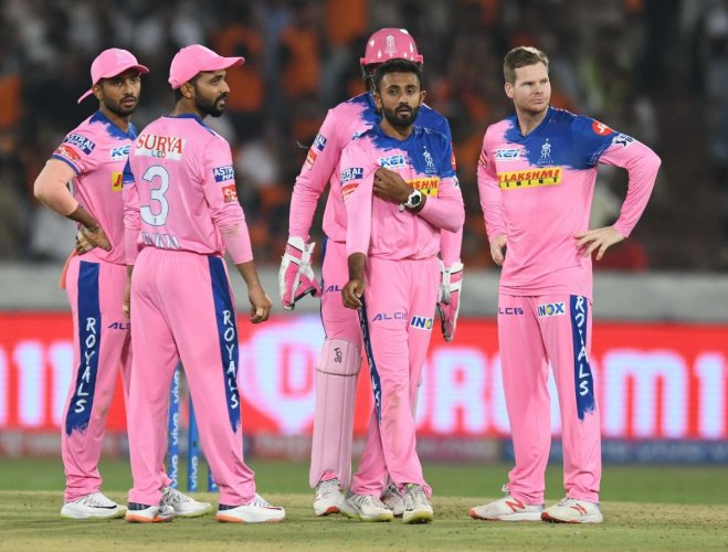 TIME TO STEP UP: Rajasthan Royals will count on spinner Shreyas Gopal (second right) and in-form Steven Smith to get them over the line against Chennai Super Kings on Thursday. AFP