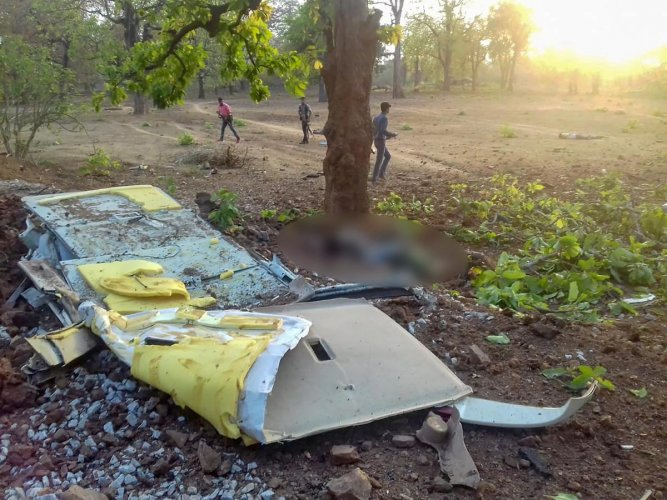 The wreckage of a vehicle at the IED blast site after a BJP convoy was attacked by the Maoists in Dantewada district of Chhattisgarh on Tuesday, April 9, 2019. BJP legislator Bheema Mandavi, who was also in the convoy, reportedly killed in the attack. PTI file photo