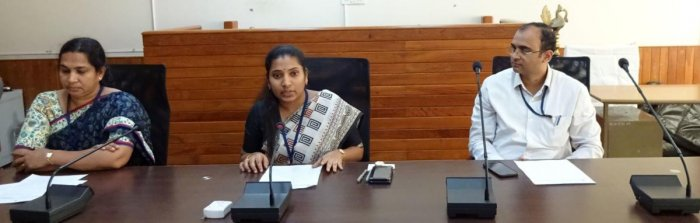 Deputy Commissioner and District Election Officer Hephsiba Rani Korlapati addresses mediapersons at her office in Manipal on Tuesday.