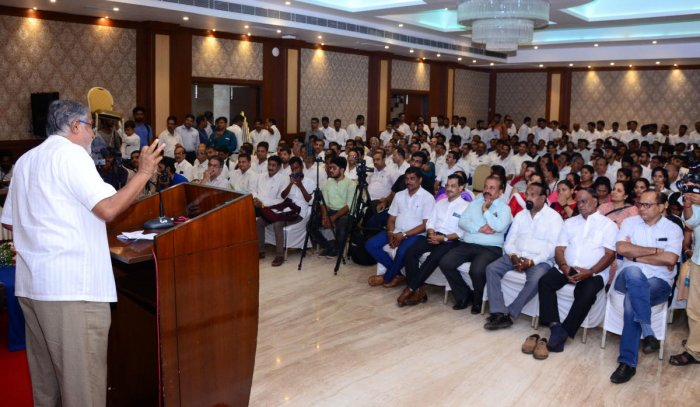 MLA S Suresh Kumar speaks at an interaction with advocates organised by BJP in Mangaluru on Tuesday.