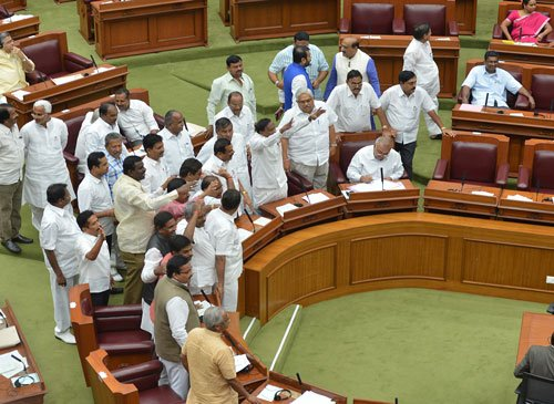 BJP, JDS members stage walk out over cane growers issue