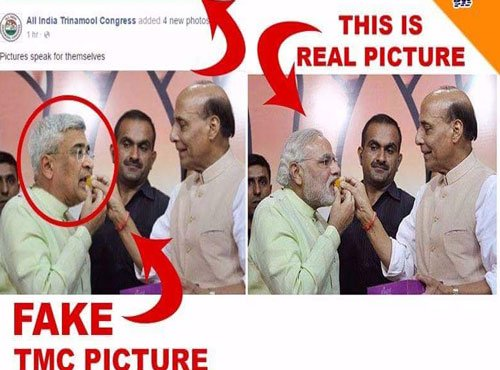 TMC courts controversy by posting morphed pic of Rajnath
