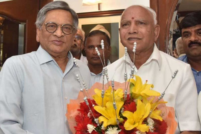 BJP state president B S Yeddyurappa held talks with former union minister S M Krishna on Saturday on the Lok Sabha elections and especially the contest in the Vokkaliga bastion of Mandya where the party is undecided on fielding a candidate. (DH Photo)