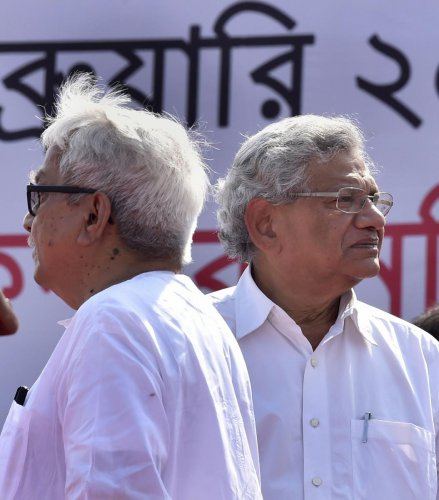 CPI(M) General Secretary Sitaram Yechury and Left Front chairman Biman Bose during a Left Front rally at Brigade Parade Ground in Kolkata, Sunday, Feb. 03, 2019. (PTI Photo)