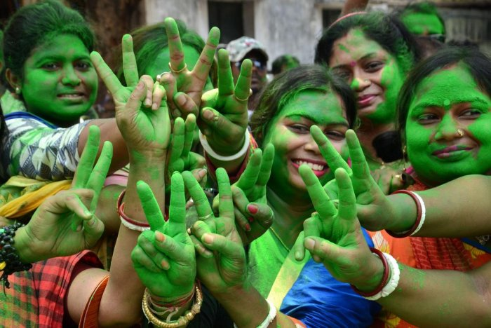 All India Trinamool Congress supporters celebrate during Panchayat poll election results. PTI File Photo