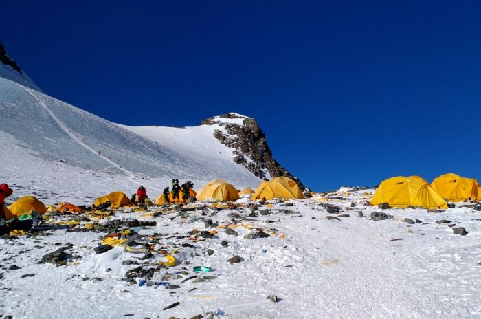 Discarded climbing equipment and rubbish scattered around Camp 4 of Mount Everest. AFP file photo