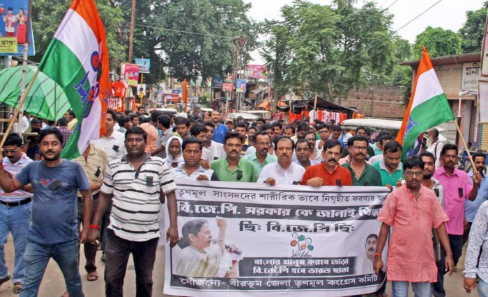 The TMC activists raised slogans against the BJP governments at the Centre as well as Assam. (PTI Photo)