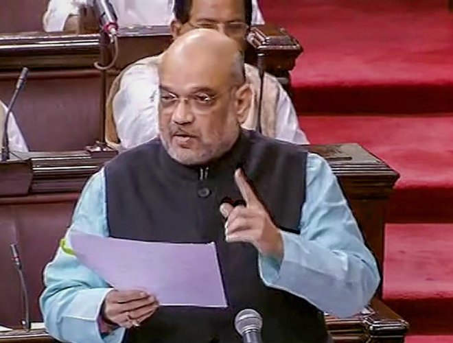 BJP President Amit Shah speaks in the Rajya Sabha during the Monsoon session of Parliament, in New Delhi on Tuesday. PTI