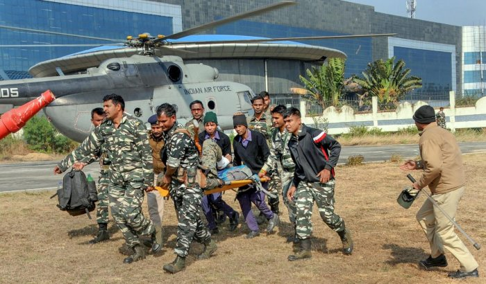 An injured Central Reserve Police Force jawan being taken for further treatment after an encounter with CPI-Maoist groups at Saraikela-Chakradhar Pur border area of Chaibasa district of Jharkhand. PTI/FILE