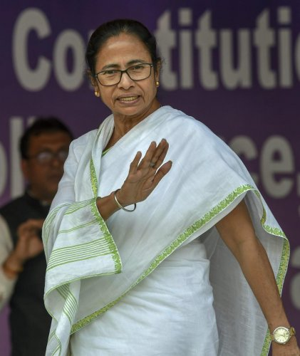 West Bengal Chief Minister Mamata Banerjee during her sit-in protest over the CBI's attempt to question the Kolkata Police commissioner in connection with chit fund scams, in Kolkata, Tuesday, February 5, 2019. PTI