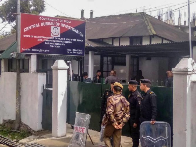 Tight security arrangments made outside the CBI office where Kolkata Police Commissioner Rajeev Kumar is being questioned in connection with chit fund case, in Shillong, Saturday, Feb 9, 2019. (PTI Photo)