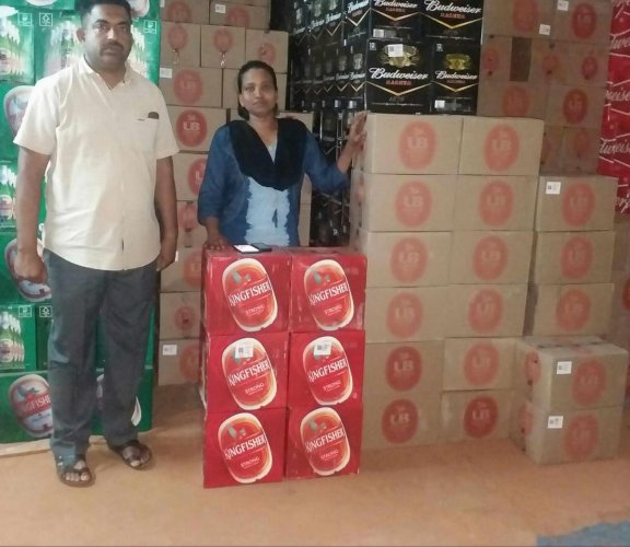The excise officials seized beer cases worth Rs 14.80 lakh from a warehouse of Karnataka State Beverages Corporation in Honnavar on Thursday night.