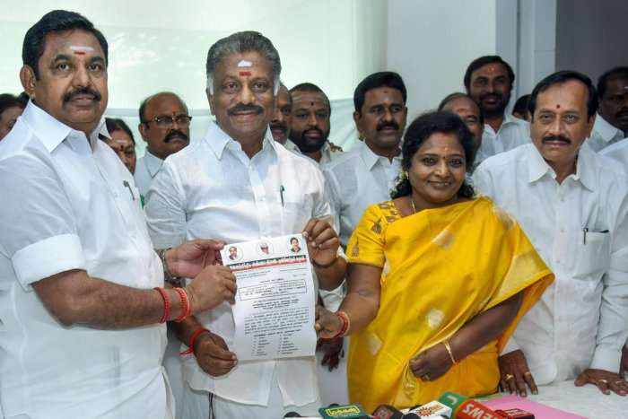 Tamil Nadu Chief Minister Edappadi K Palaniswami and his deputy O Panneerselvam release a list of constituencies allotted to the allies in presence of coalition leaders, including BJP state President Tamilisai Soundararajan and H Raja, in Chennai, Sunday,